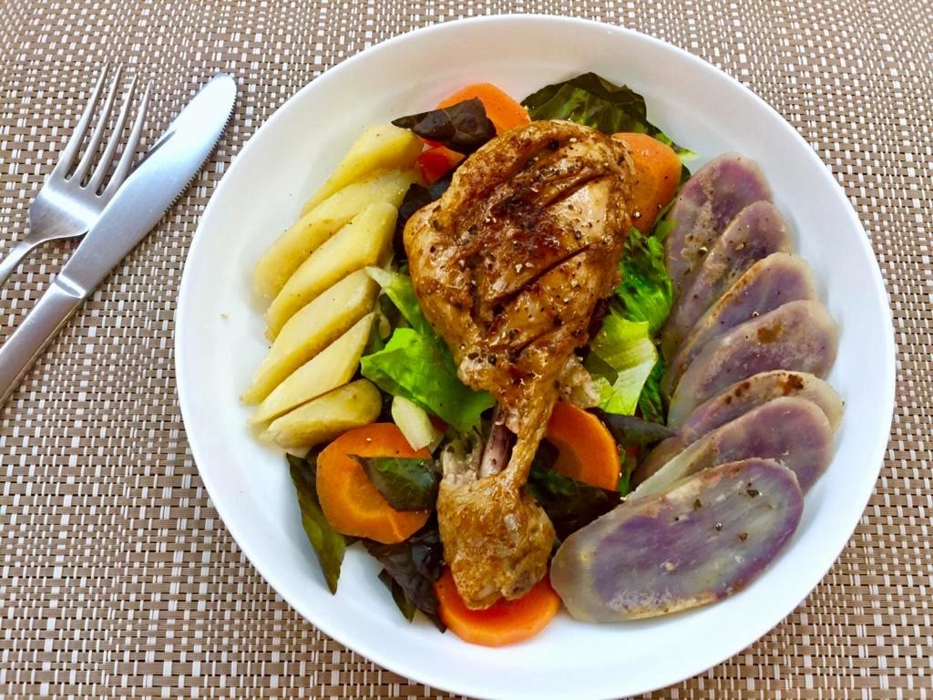 烤焗雞腿配紫薯